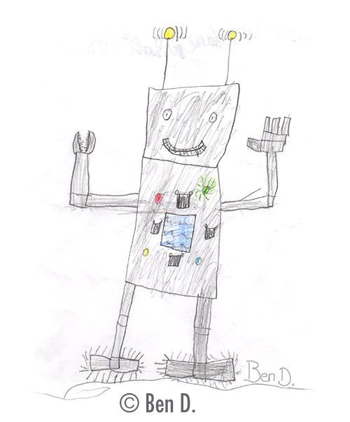 Illustration von Ben: Eddi Error der Aufräumroboter von Anne Böhme.